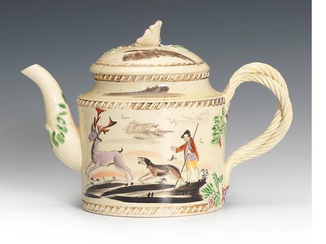 A creamware teapot and cover, circa 1765-70