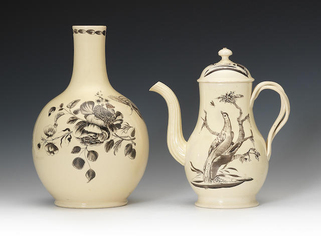 A creamware coffee pot and a guglet, circa 1765-75