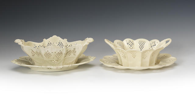 A creamware basket and stand and a pair of creamware baskets and stands, circa 1770-80