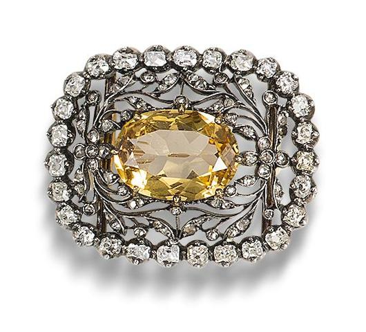 A 19th century topaz and diamond brooch