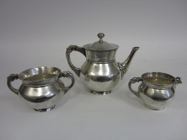 An Edwardian three piece tea service by Wakely and Wheeler, Dublin 1902