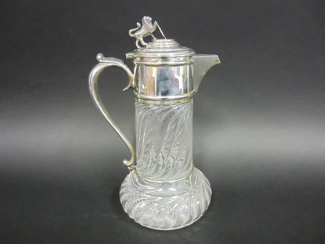 An Edwardian silver mounted claret jug by J. Gloster, London 1905
