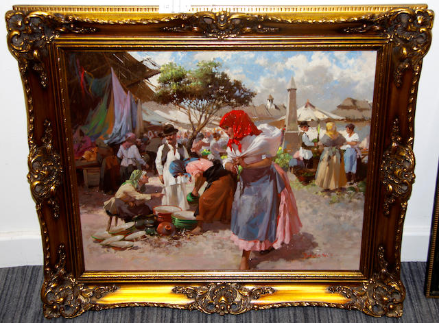 Witman Etelka Vizkelety (Hungarian, 1882-1962) A marketplace in a Hungarian village