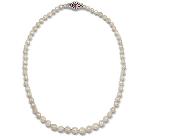 A single-row pearl necklace