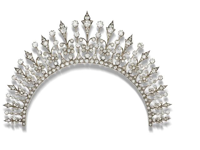 A late 19th century diamond necklace/tiara combination,