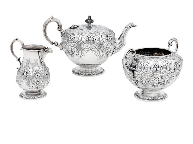 A Victorian three piece silver tea service by Mackay & Chisholm, Edinburgh 1878  (3)