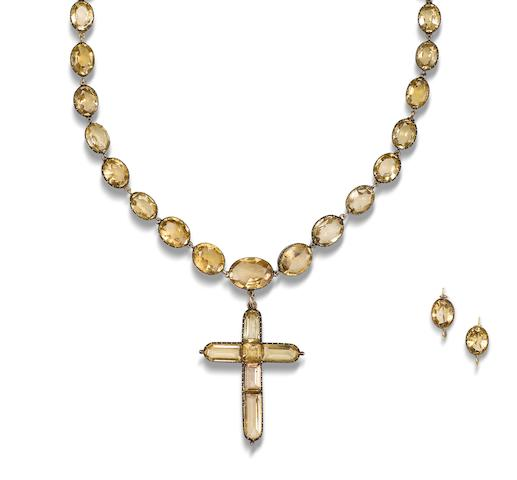 A topaz rivière and cross pendant necklace and earring suite, (2)