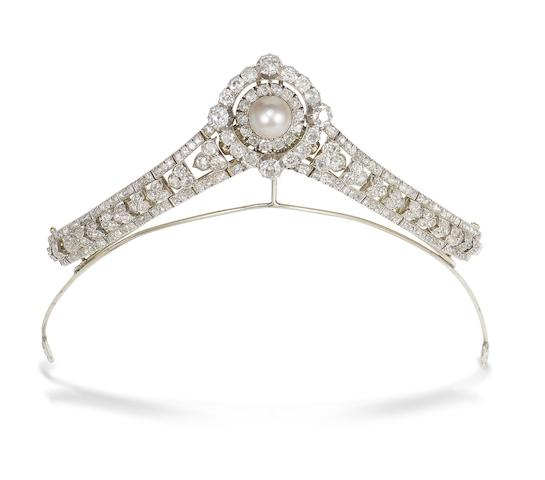 A pearl and diamond bracelet/brooch/tiara combination,