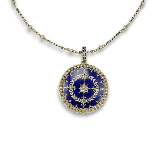 A gold, enamel and diamond locket/necklace, by Carlo Giuliano,