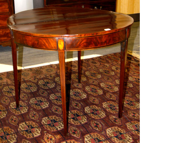 George III mahogany D-Shaped tea table