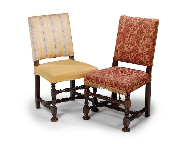 A set of 6 early 18th century harlequin 'backstool' dining chairs, s/d, restorations,