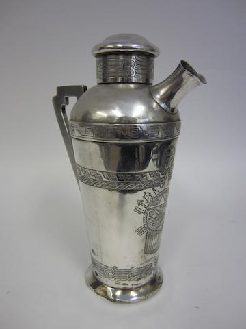 A Mexican silver cocktail jug probably by Conquistador, Mexico City, circa 1920, 900 standard