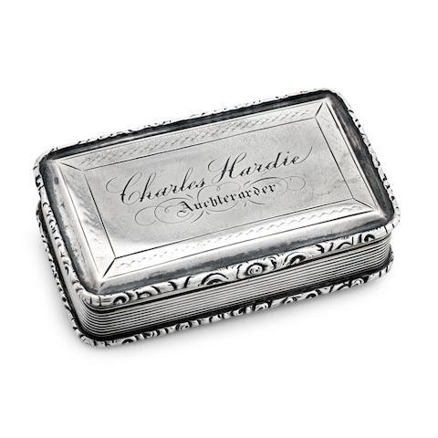 A Victorian silver snuff box by Nathaniel Mills, Birmingham 1842