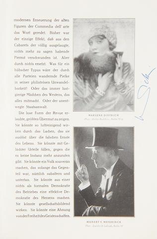 Marlene Dietrich: An early autographed theatre programme, Berlin 1928,