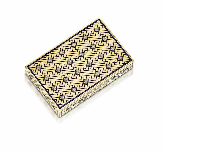 A gold, enamel and diamond-set vanity case, by Cartier,
