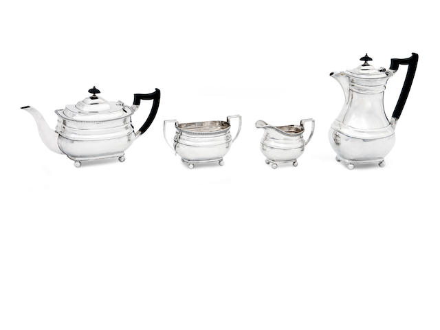 A four piece silver tea service by Wilson & Sharp, Sheffield 1940