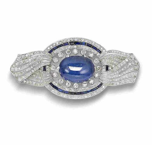A sapphire, synthetic sapphire and diamond brooch,