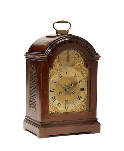 A late 18th century mahogany table clock with pull quarter repeat Thomas Hunter Jnr, London
