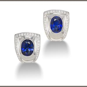A pair of sapphire earrings,  by de Vroomen,