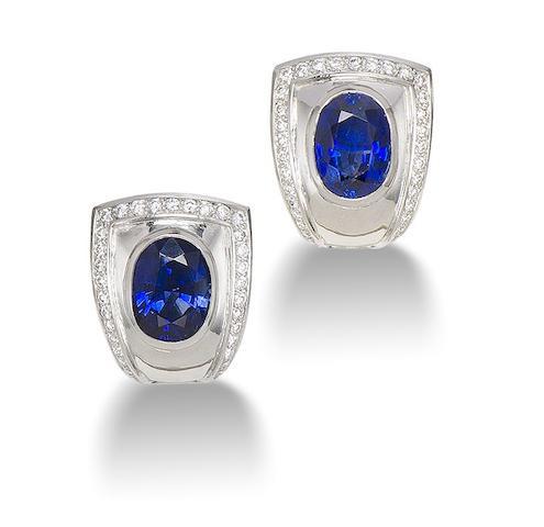 A pair of sapphire earrings,  by de Vroomen,