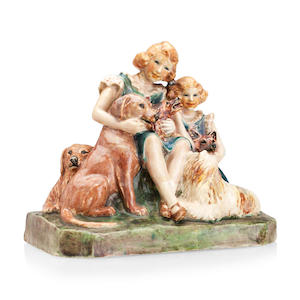 A Stella R Crofts pottery figure group depicting Princesses Elizabeth and Margaret 1937