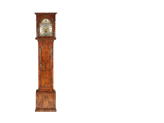 A grandfather clock, Daniel Quare, with two keys and a winder, two weights and pendulum