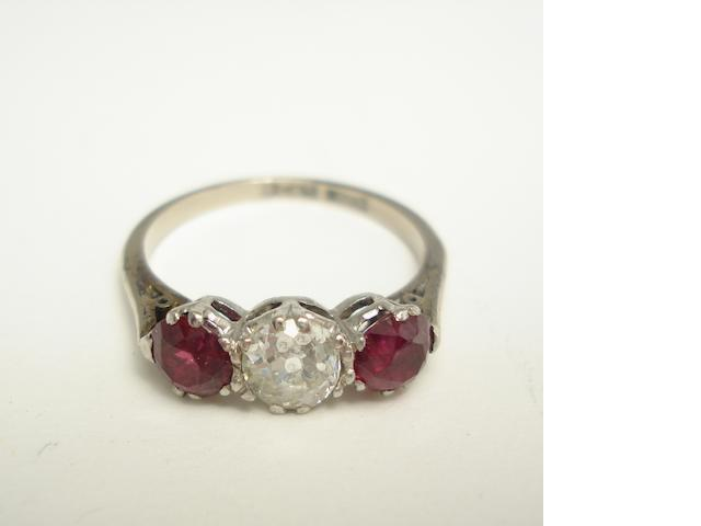 A diamond and ruby three-stone ring