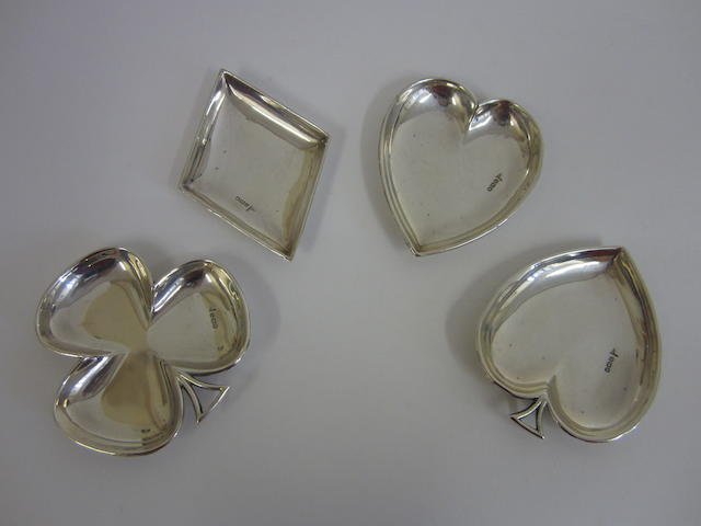 A silver set of novelty trinket trays by Walker & Hall, Sheffield 1912
