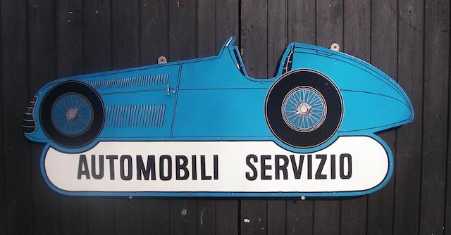 A hand-painted 'Automobili Servizio' garage display sign,