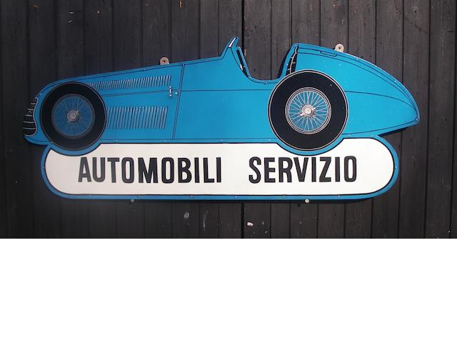 A hand-painted 'Automobili Servizio' garage display sign,