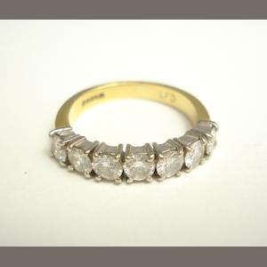 An 18ct gold diamond half eternity ring