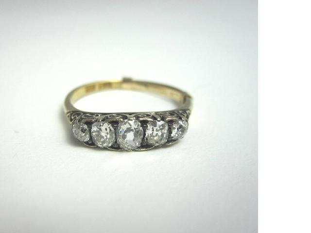 A late Victorian diamond five-stone ring
