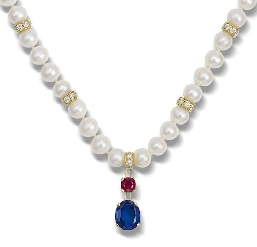 A sapphire, ruby, diamond and freshwater pearl necklace