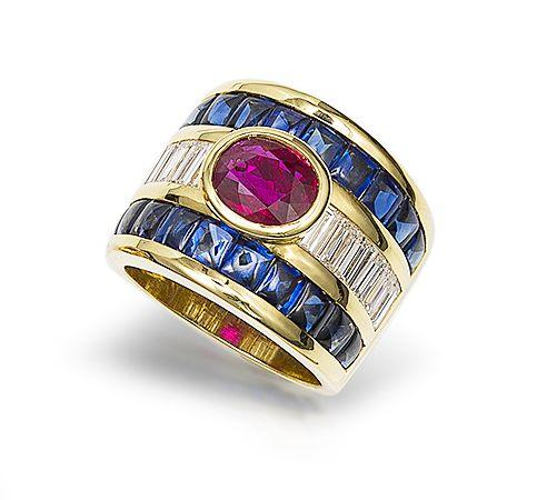 A ruby, sapphire and diamond ring, by Carlos Jimenez