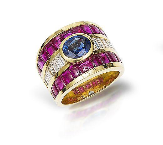 A sapphire, ruby and diamond ring, by Carlos Jimenez