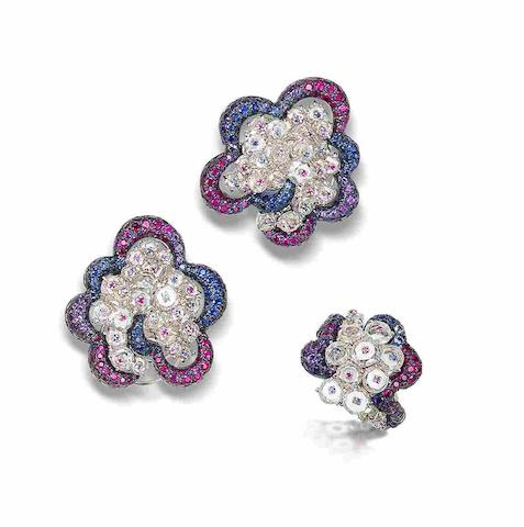 A diamond, ruby, sapphire and amethyst earring and ring suite, by Carnet (2)