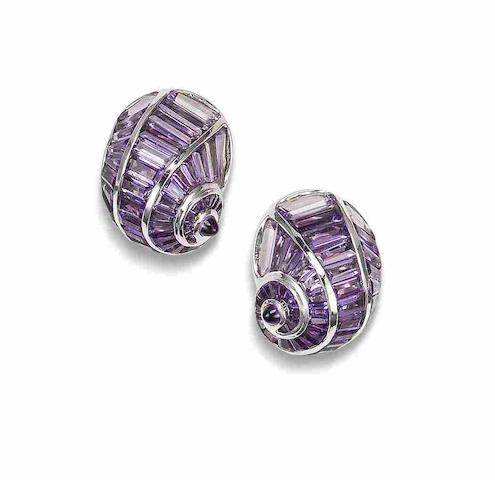 A pair of amethyst shell earclips, by Fochtmann