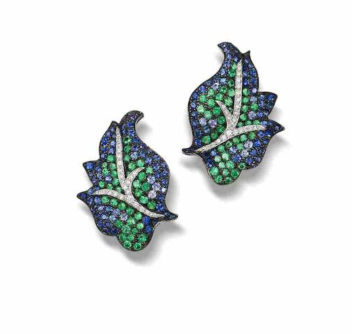 A pair of emerald, sapphire and diamond leaf earrings, by Carnet