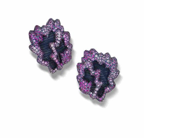 A pair of silk and pink sapphire earrings,
