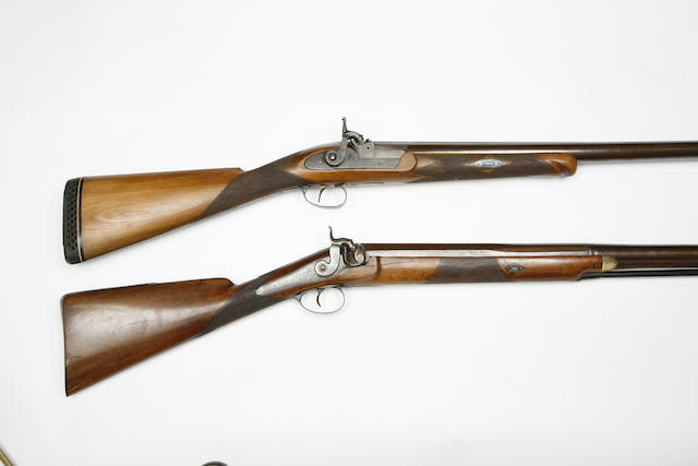 An 8-Bore Percussion Wildfowling Gun, And Another Of 7-Bore