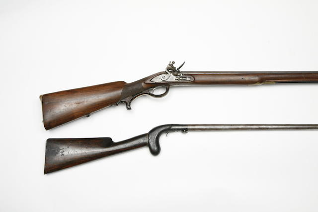 A German 18-Bore Flintlock Gun, And A 32-Bore Under-Hammer Percussion Walking-Stick Gun