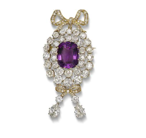 An amethyst and diamond brooch/pendant