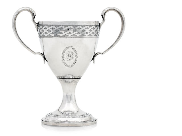 An Irish twin handled silver cup by Richard Sawyer, Dublin 1806