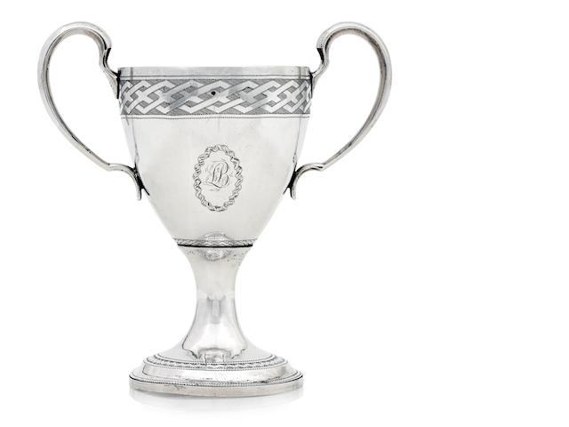An Irish twin handled silver cup by Richard Sawyer, Dublin 1806