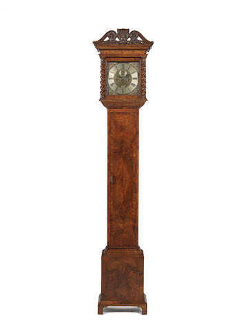 A late 17th century ten inch dial longcase clock movement, now contained in a custom made walnut case Bearing the signature 'Daniel Quare, London'