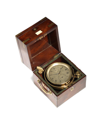 A mid 19th century mahogany two day marine chronometer French, Royal Exchange, London, number 5740