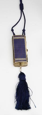 An Art Deco silver-gilt and enamel rectangular vanity case imported by Carrington & Co., London 1924