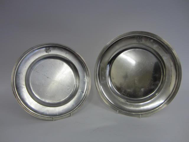 Two Austrian silver circular plates bearing 1867-1872, 800 standard control marks, by JCK