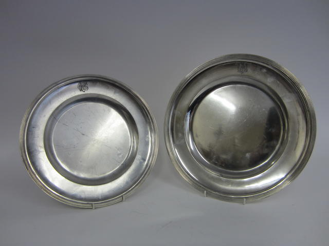 Two Austrian silver circular plates bearing 1867-1872, 800 standard control marks, by JCK