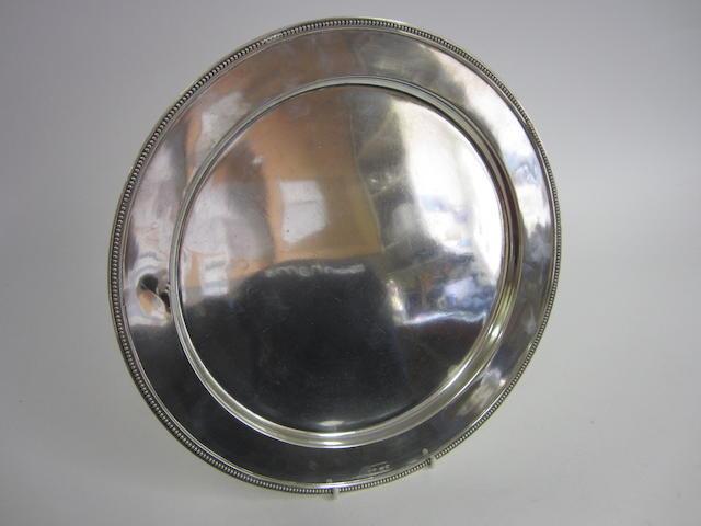 An Austrian silver circular plate Vienna, 1872-1922, 800 standard control marks, RS, HD, Schwarz and Steiner
